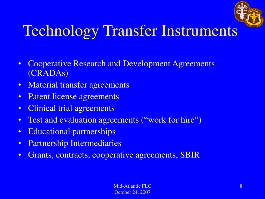 Technology Transfer Instruments