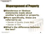 disparagement of property