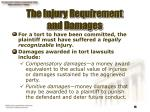 the injury requirement and damages
