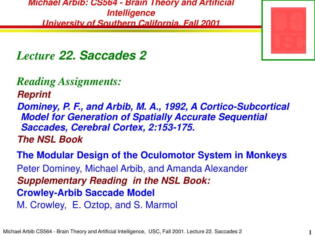 Michael Arbib: CS564 - Brain Theory and Artificial Intelligence