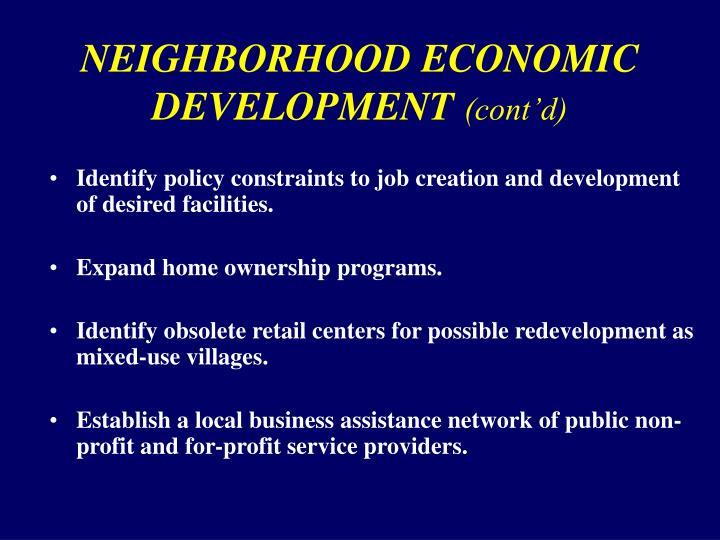 NEIGHBORHOOD ECONOMIC DEVELOPMENT