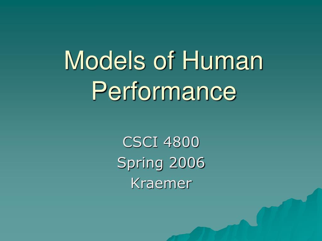 models of human performance l.
