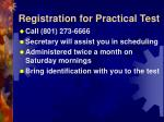 registration for practical test