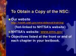 to obtain a copy of the nsc