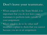 don t leave your teammate