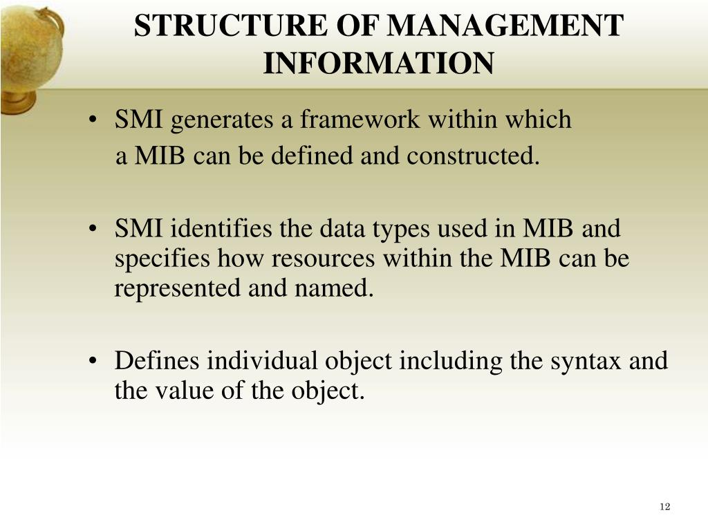 STRUCTURE OF MANAGEMENT INFORMATION