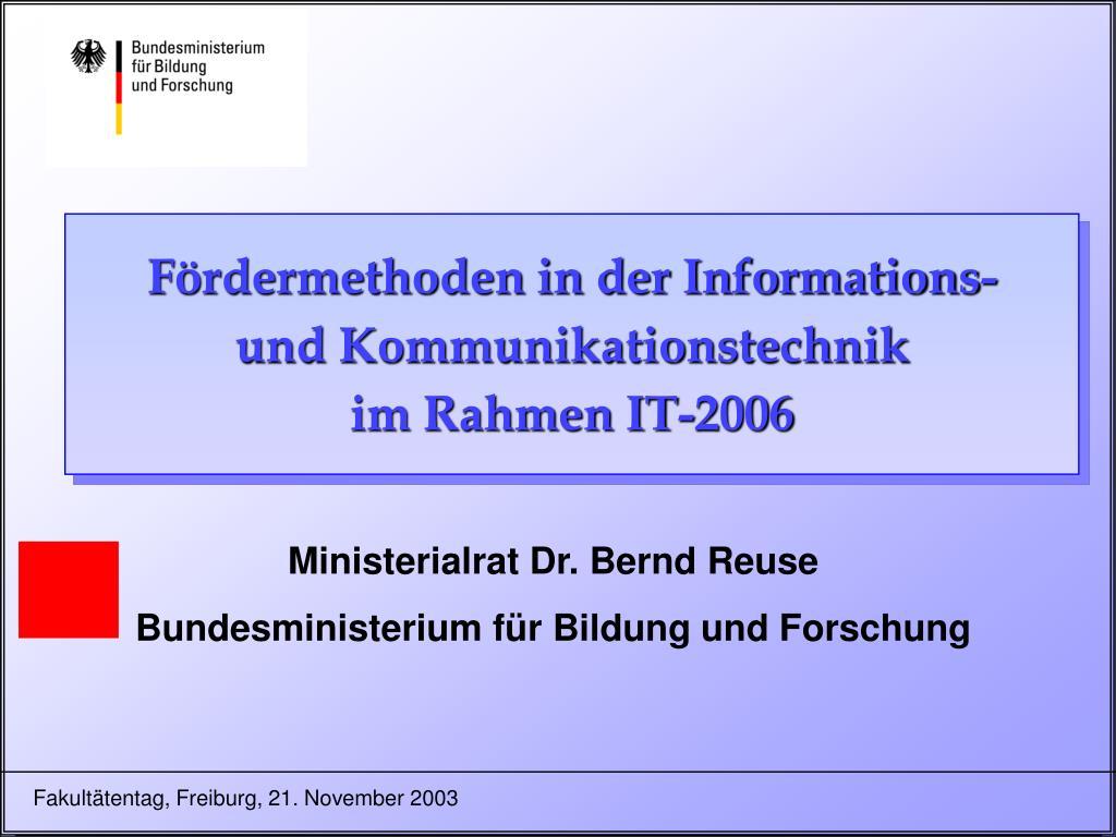 f rdermethoden in der informations und kommunikationstechnik im rahmen it 2006 l.