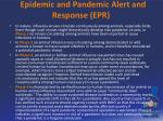 epidemic and pandemic alert and response epr