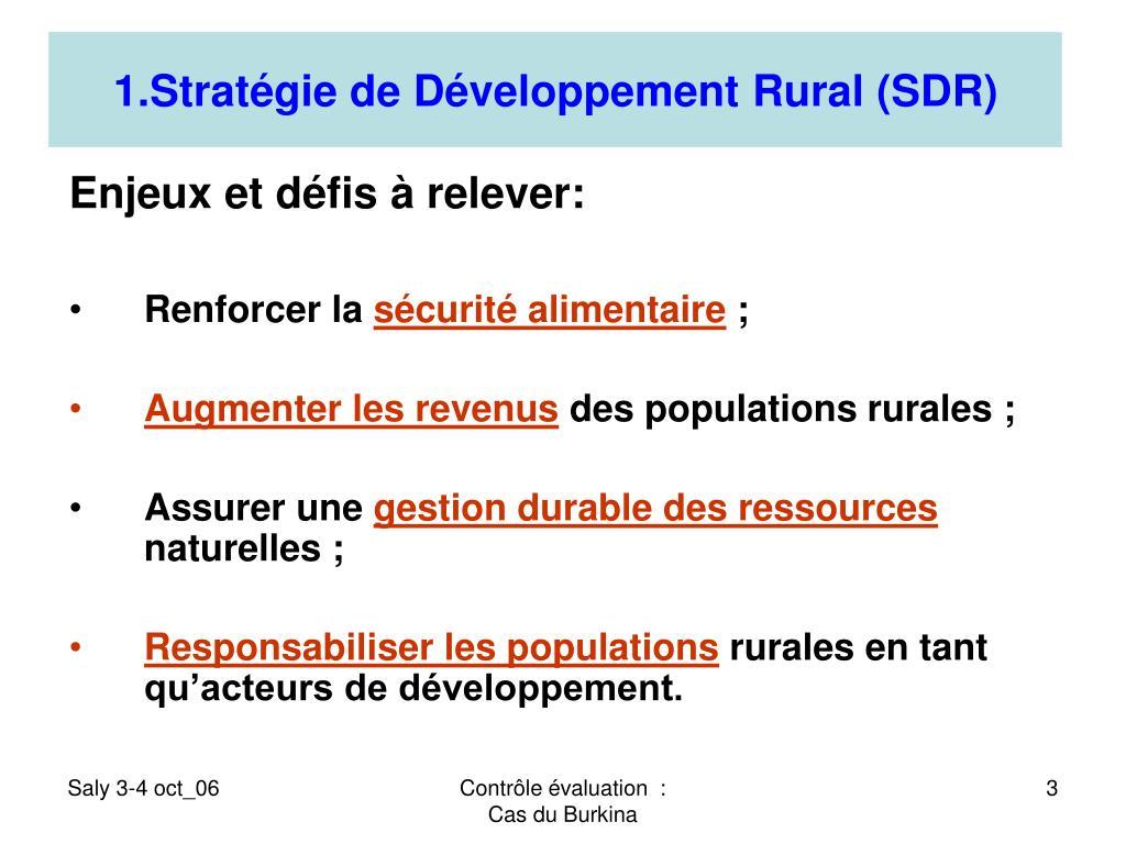 1.Stratégie de Développement Rural (SDR)