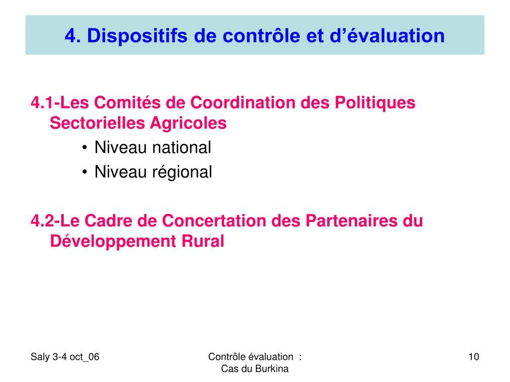 4. Dispositifs de contrôle et d'évaluation