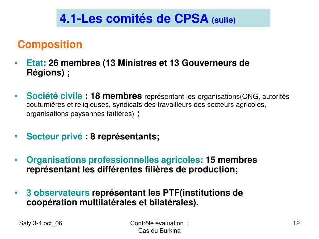4.1-Les comités de CPSA
