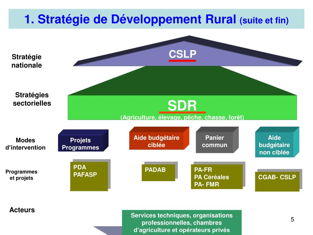 1. Stratégie de Développement Rural