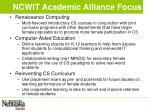 ncwit academic alliance focus
