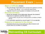 placement exam statistics