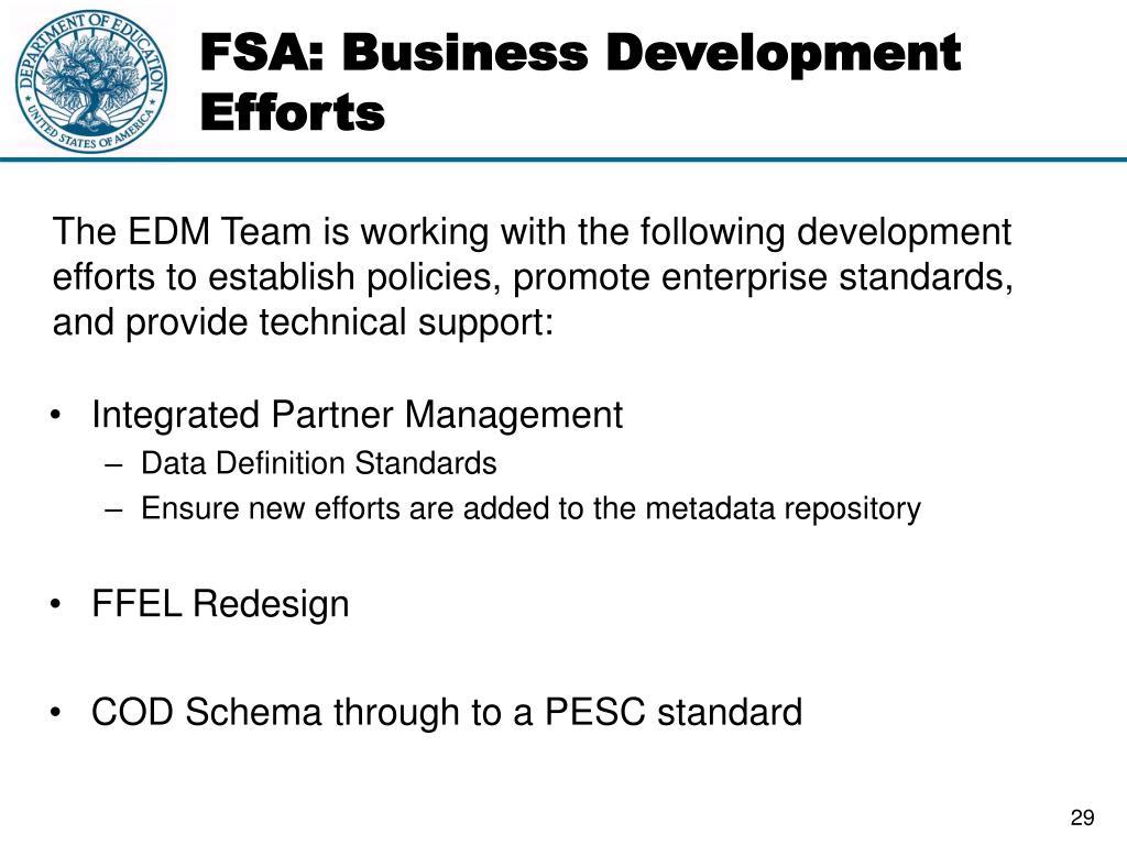 FSA: Business Development Efforts