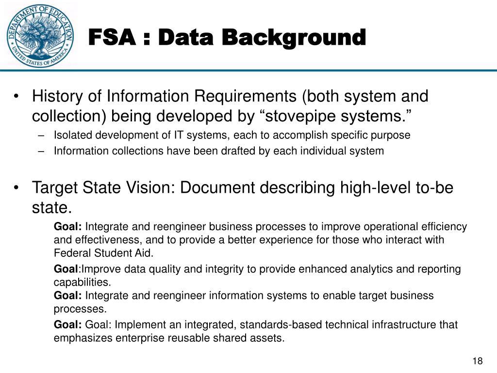FSA : Data Background
