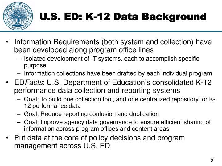 U s ed k 12 data background