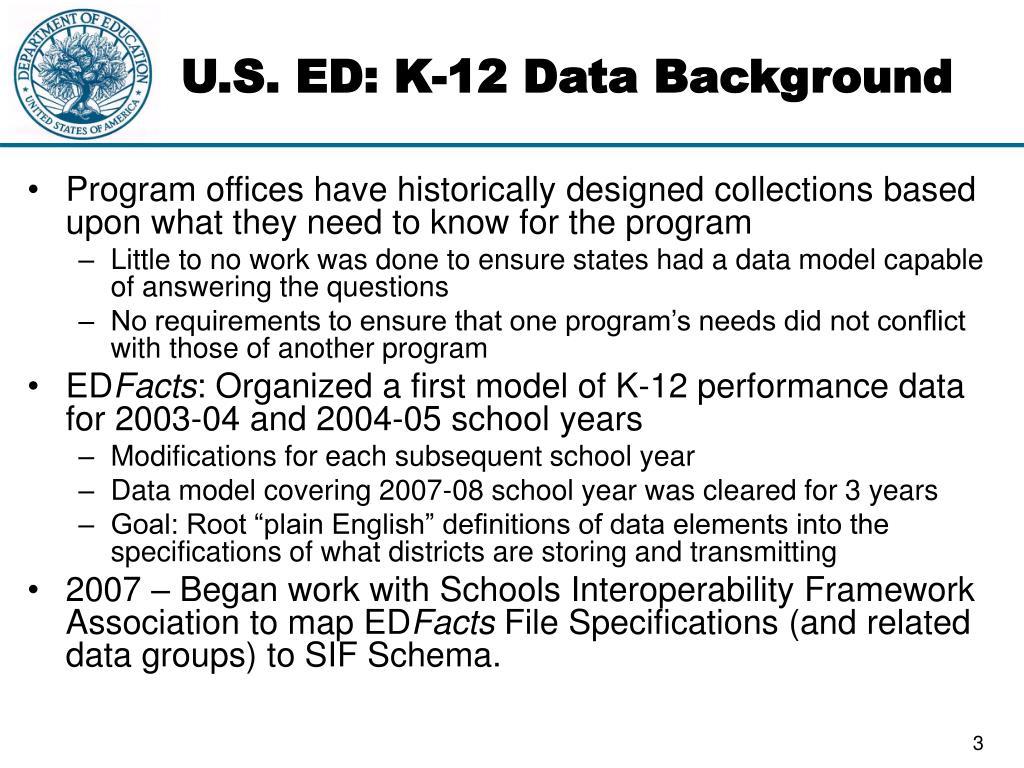 U.S. ED: K-12 Data Background