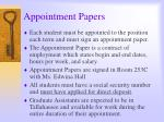appointment papers