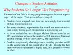 changes in student attitudes or why students no longer like programming