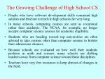 the growing challenge of high school cs