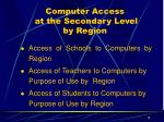 computer access at the secondary level by region