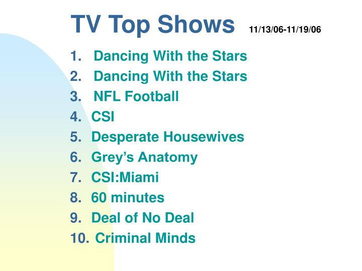 Tv top shows 11 13 06 11 19 06