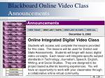 blackboard online video class announcements