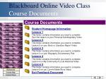 blackboard online video class course documents