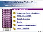 blackboard online video class course information