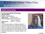 blackboard online video class staff information