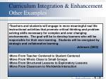 curriculum integration enhancement other examples