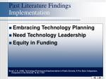 past literature findings implementation