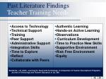 past literature findings teacher training needs