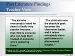 past literature findings teacher view