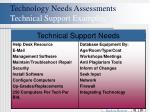 technology needs assessments technical support examples