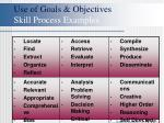use of goals objectives skill process examples