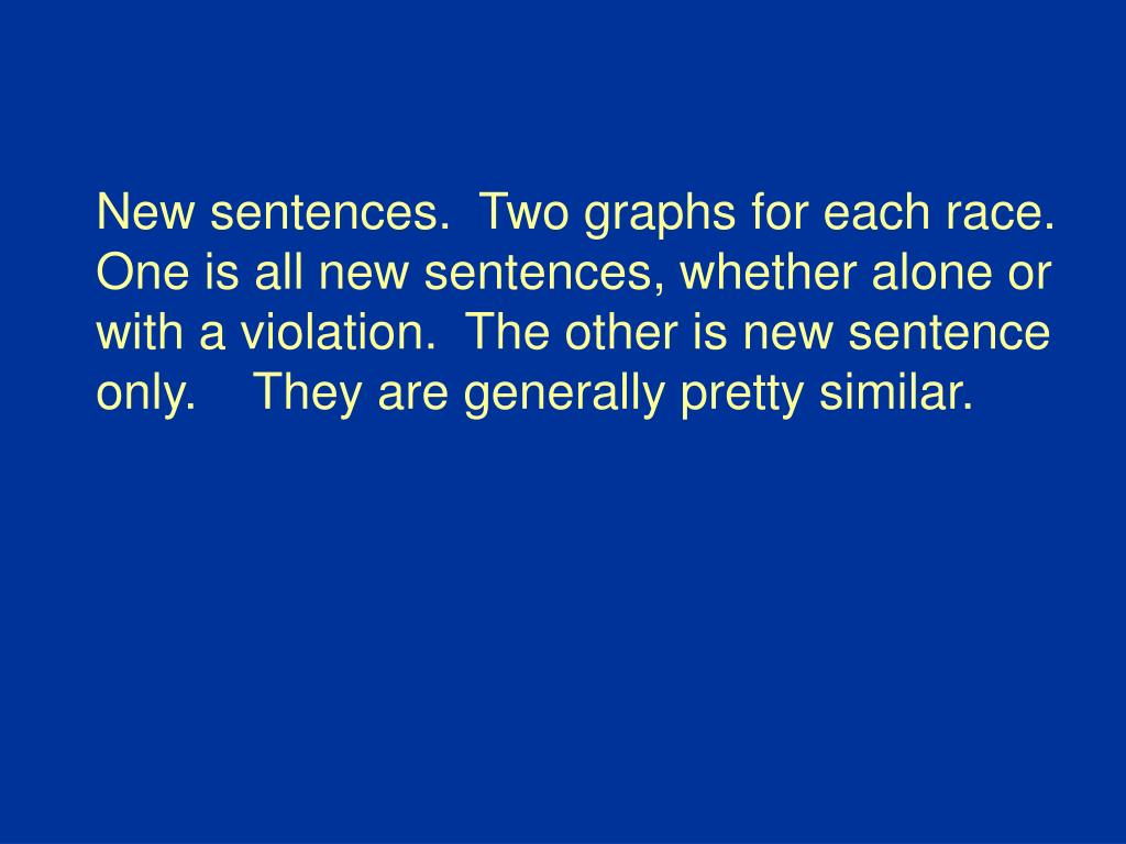New sentences.  Two graphs for each race.  One is all new sentences, whether alone or with a violation.  The other is new sentence only.    They are generally pretty similar.