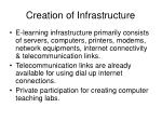 creation of infrastructure