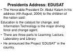 presidents address edusat