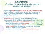 literature content of experiential simulation statistical analysis