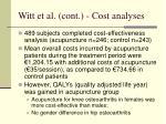 witt et al cont cost analyses