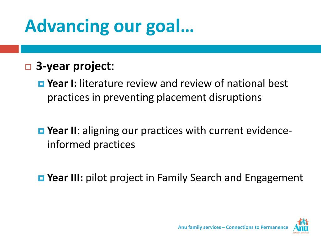 Advancing our goal…
