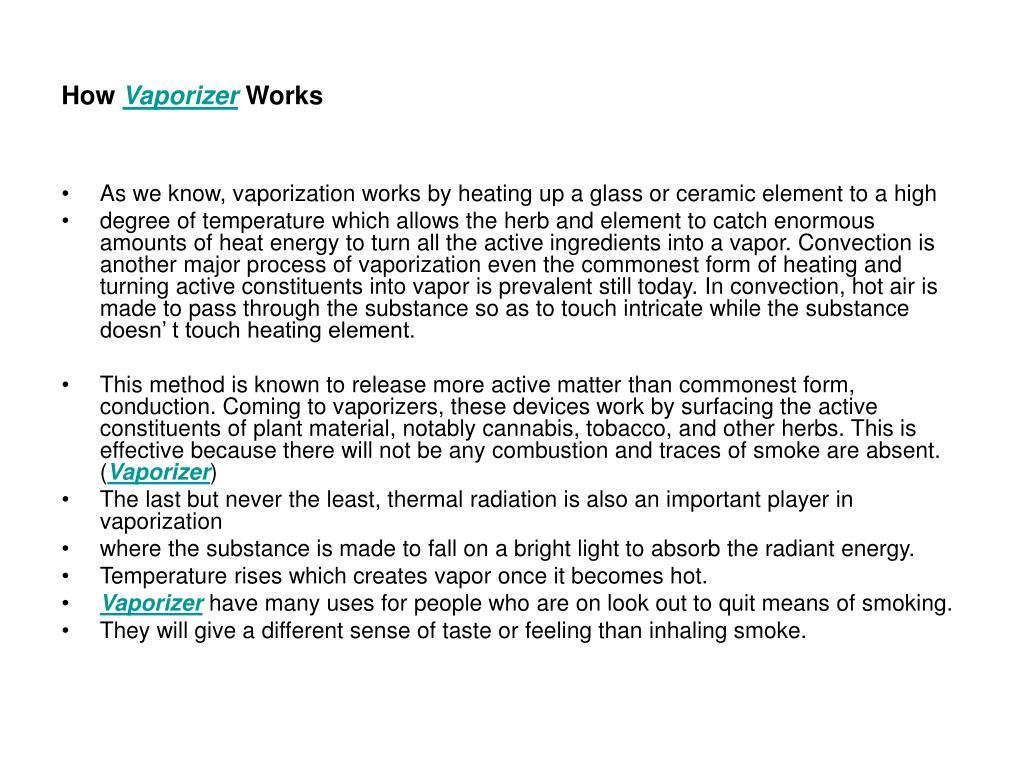 how vaporizer works l.