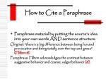 how to cite a paraphrase