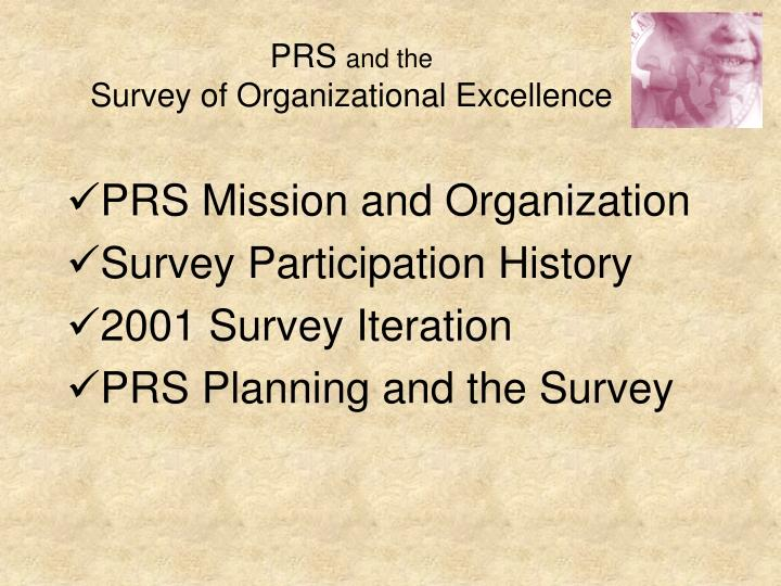 Prs and the survey of organizational excellence2
