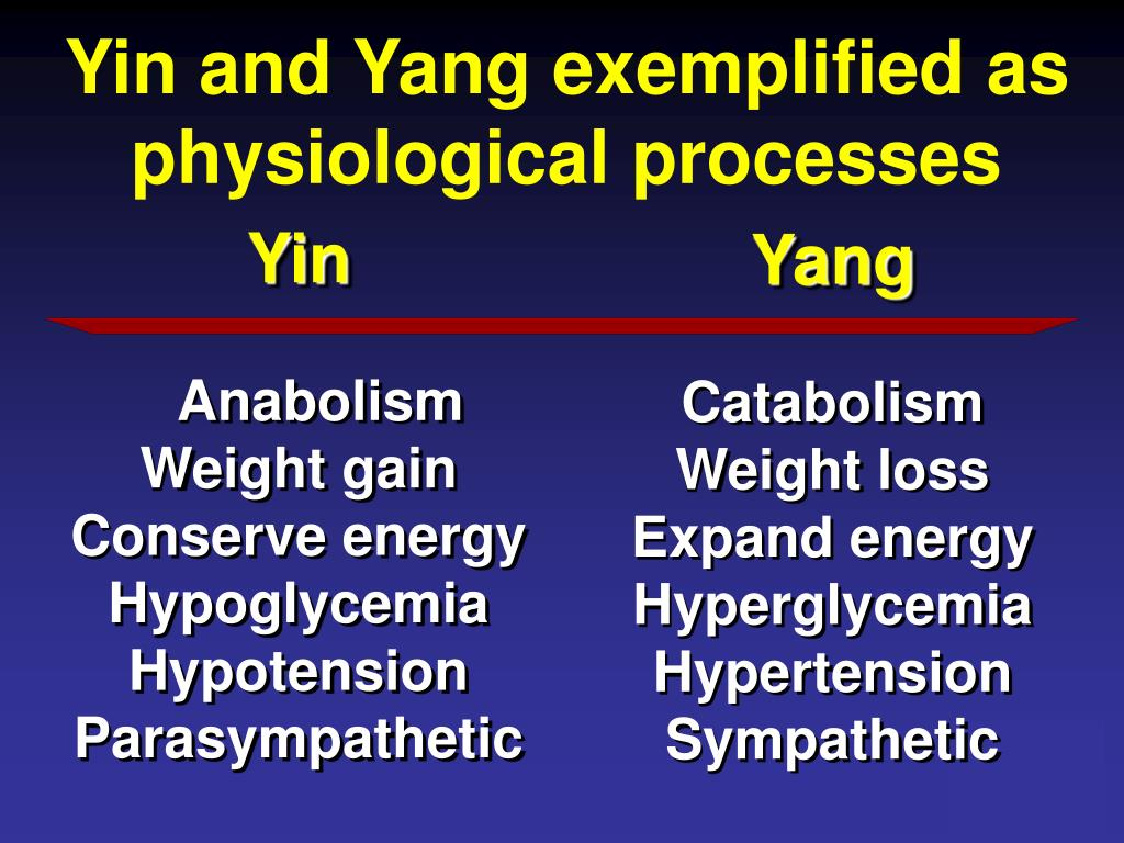 Yin and Yang exemplified as physiological processes
