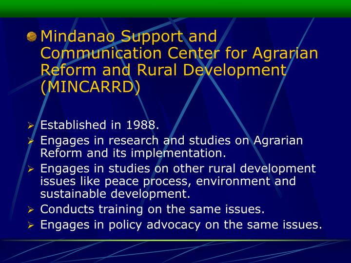 Mindanao Support and Communication Center for Agrarian Reform and Rural Development (MINCARRD)