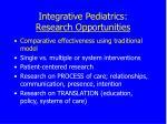 integrative pediatrics research opportunities