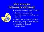 more strategies following fundamentals